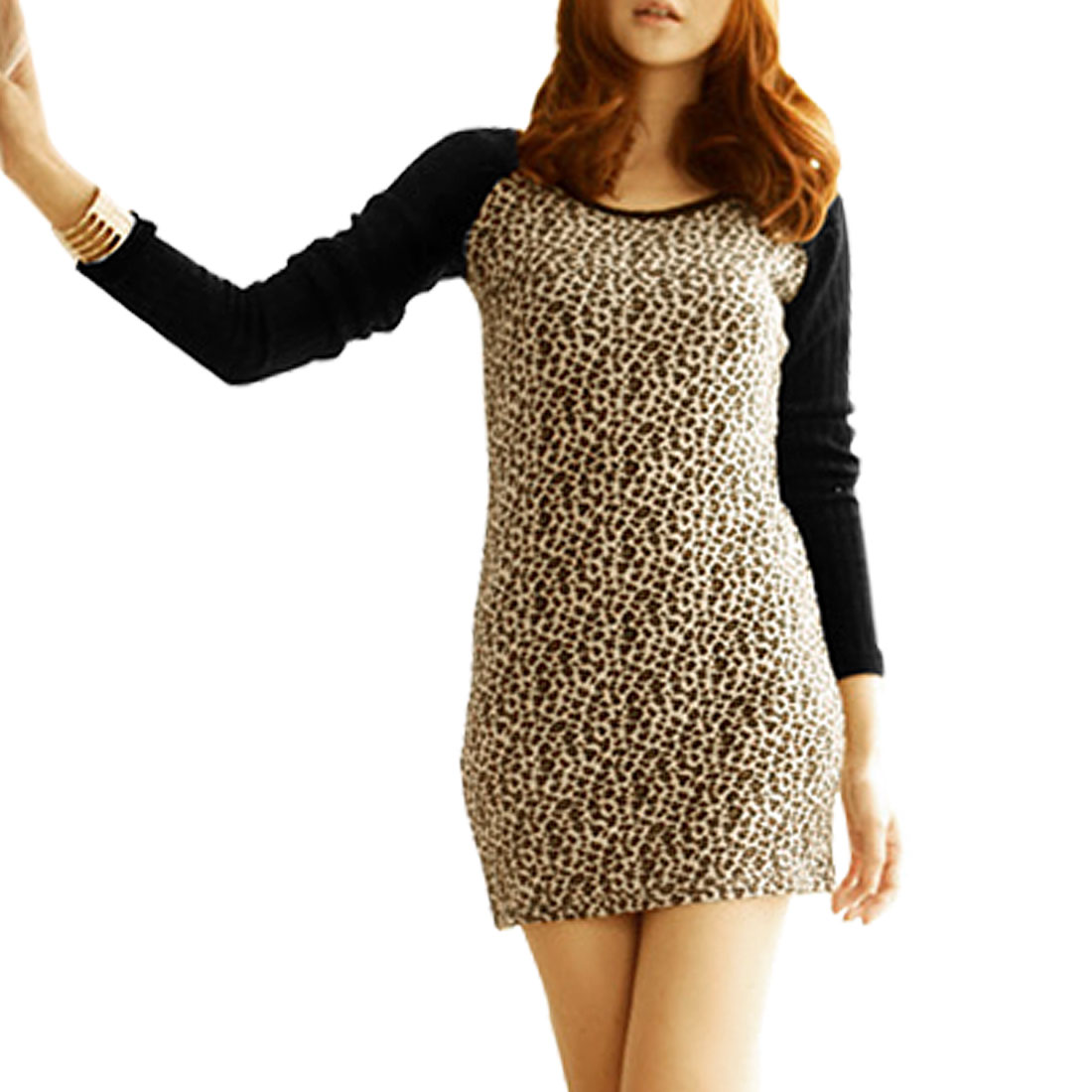 Women Round Neck Black Gray Leopard Pattern Long Sleeves Shirt XS