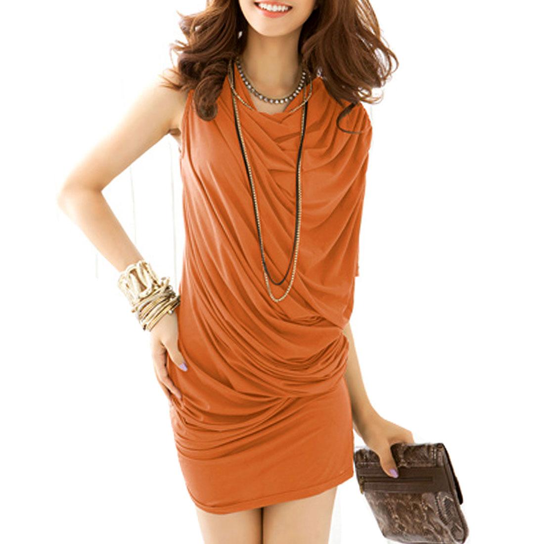 Women Cowl Neck Single Batwing Sleeve Orange Mini Dress XS