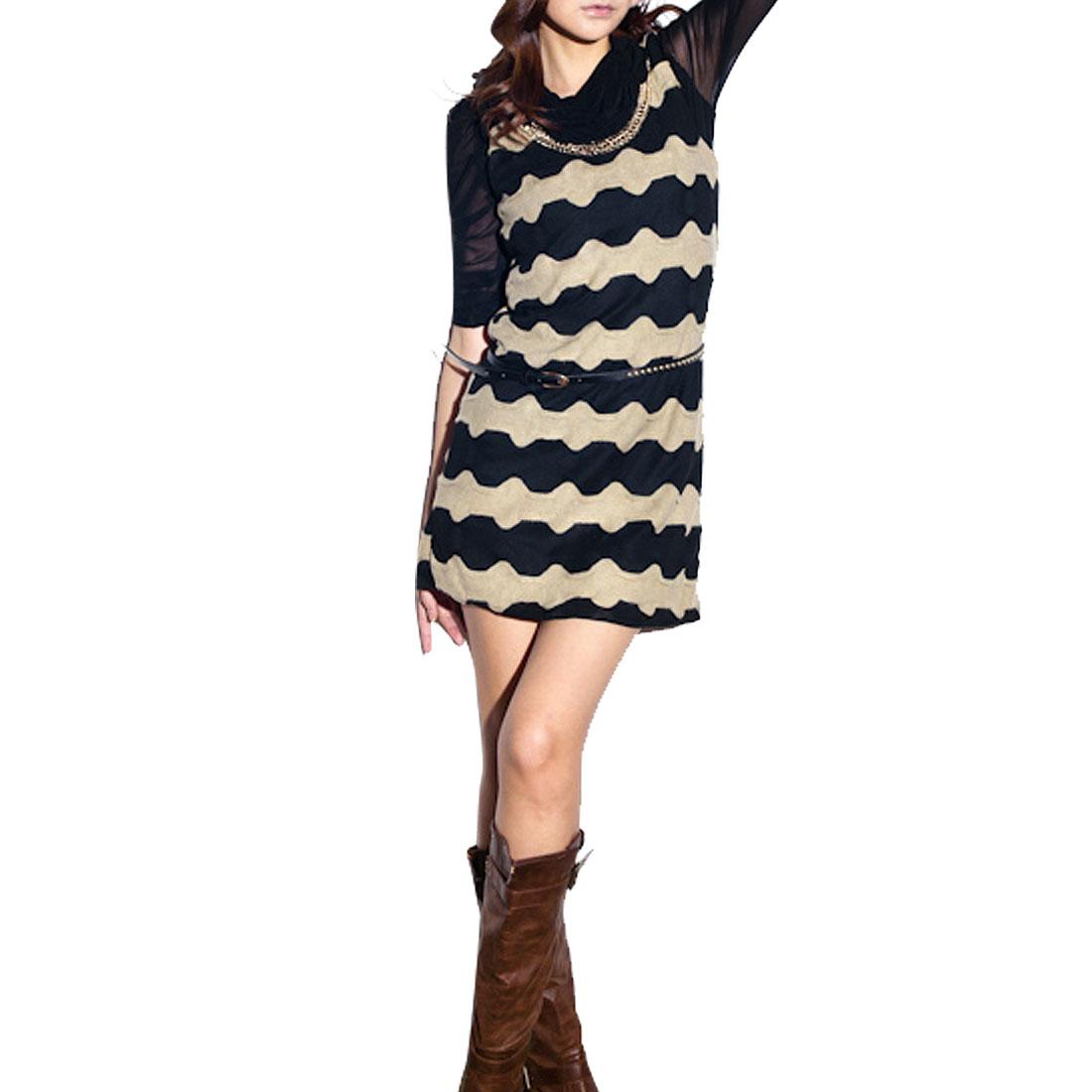 Women XS Gold Tone Chain Decor Black Khaki Knitting Tunic Shirt