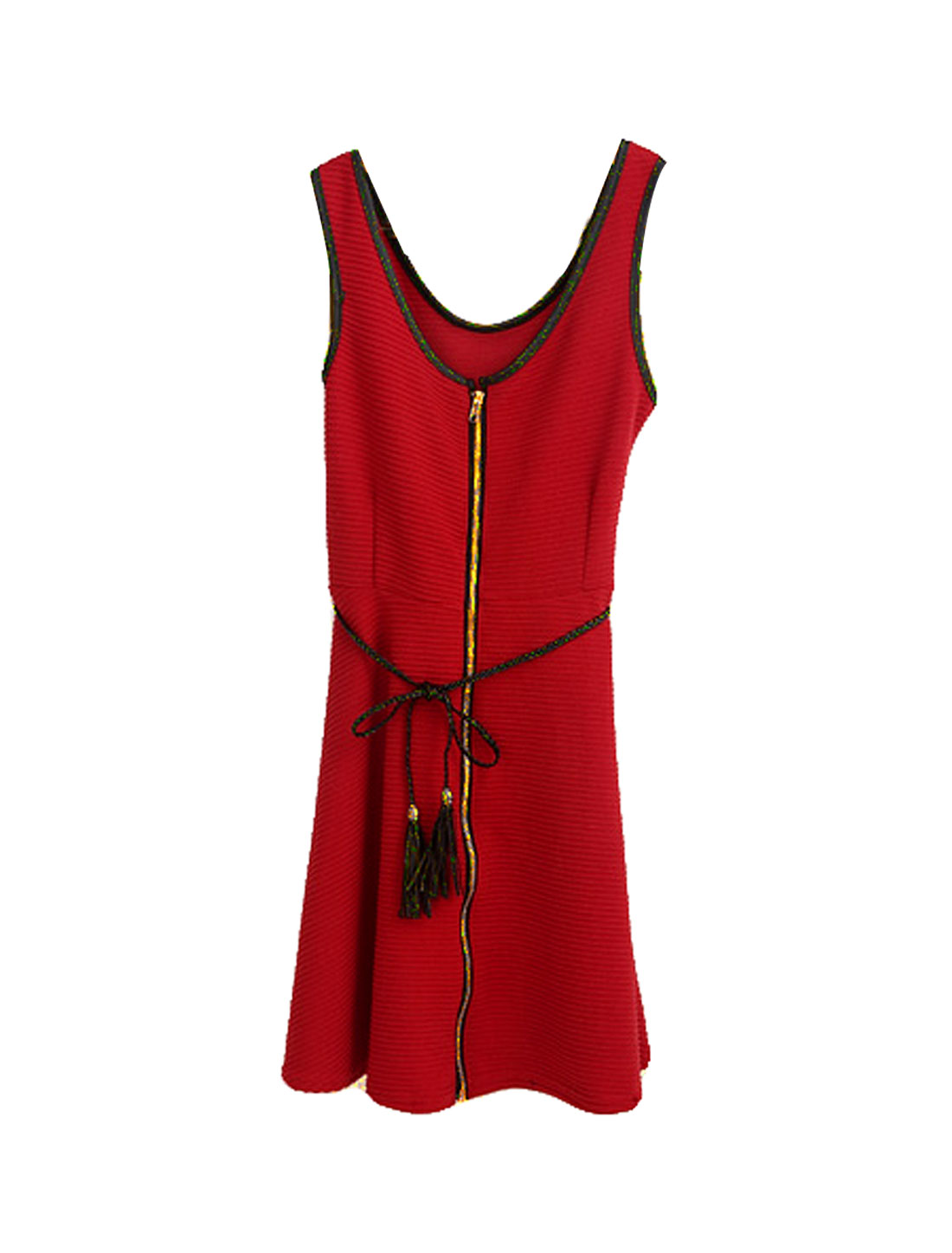 Woman Red Black Trim U Neck Sleeveless Zip up Banded Dress S