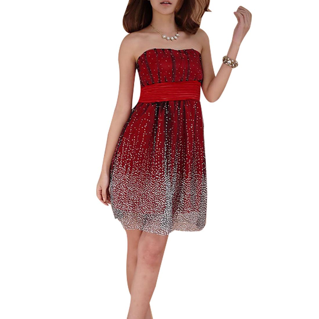 Women Sleeveless White Dots Red Black Ruffled Tube Above Knee Dress XS