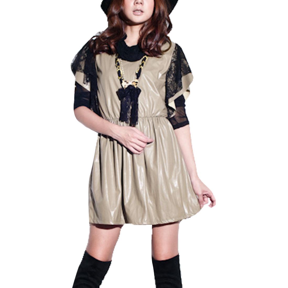 Women Scoop Neck Black Lace Cover Flutter Sleeves Khaki Mini Dress XS