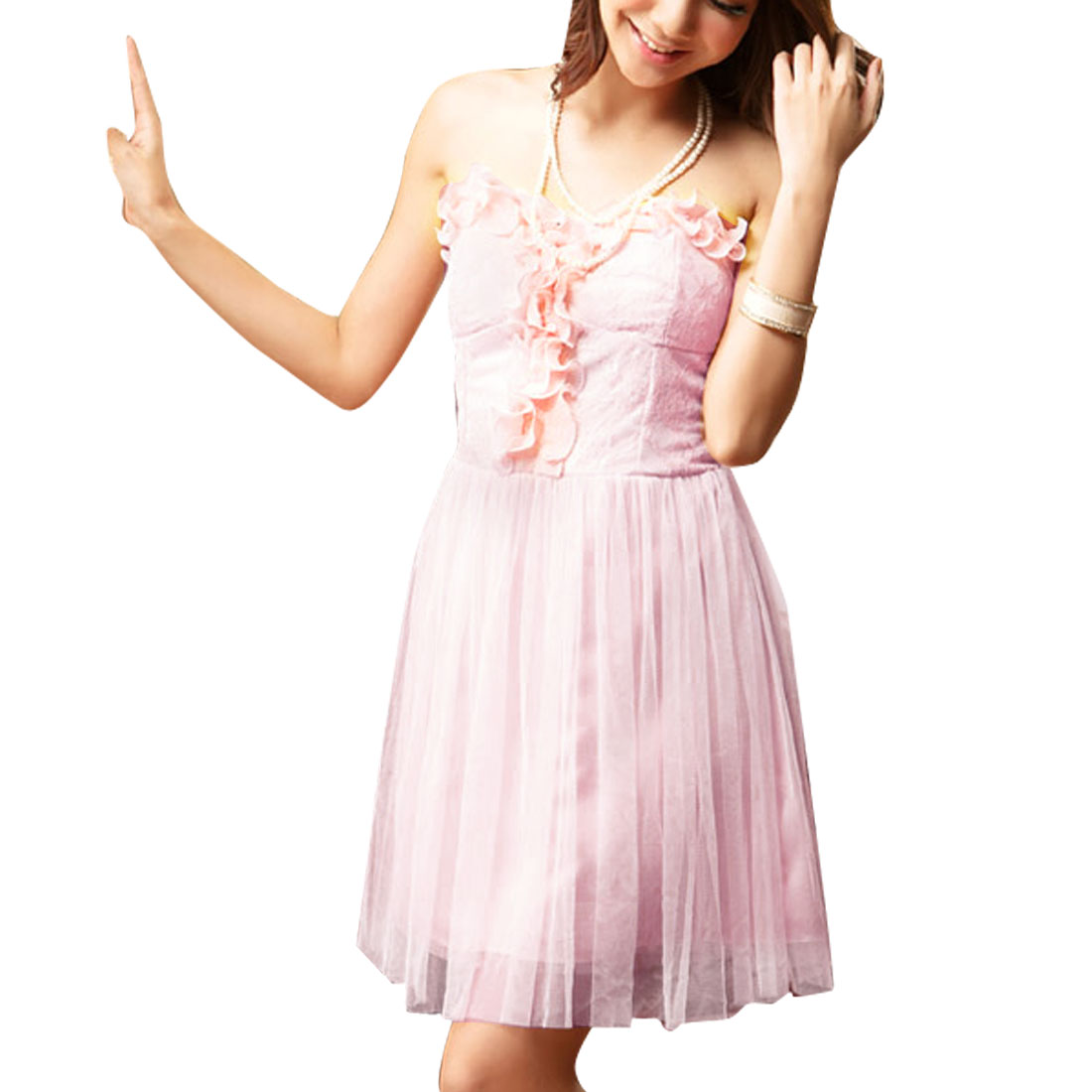 Woman Glittery Inner Lining Pink Bust Pad Ruffled Tube Dress XS