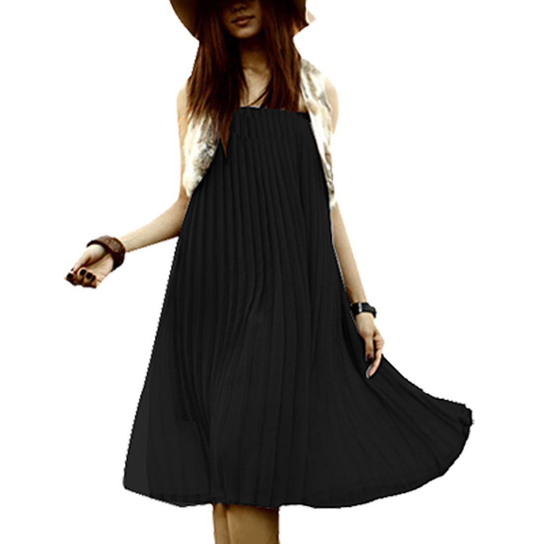 Woman Black Chiffon Accordion Pleated Elastic Top Tube Dress XS