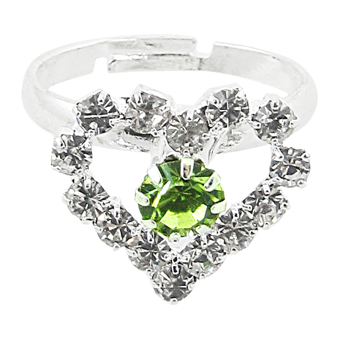 US Size 7 1/4 Faux Rhinestone Heart Decor Silver Tone Metal Finger Ring for Women
