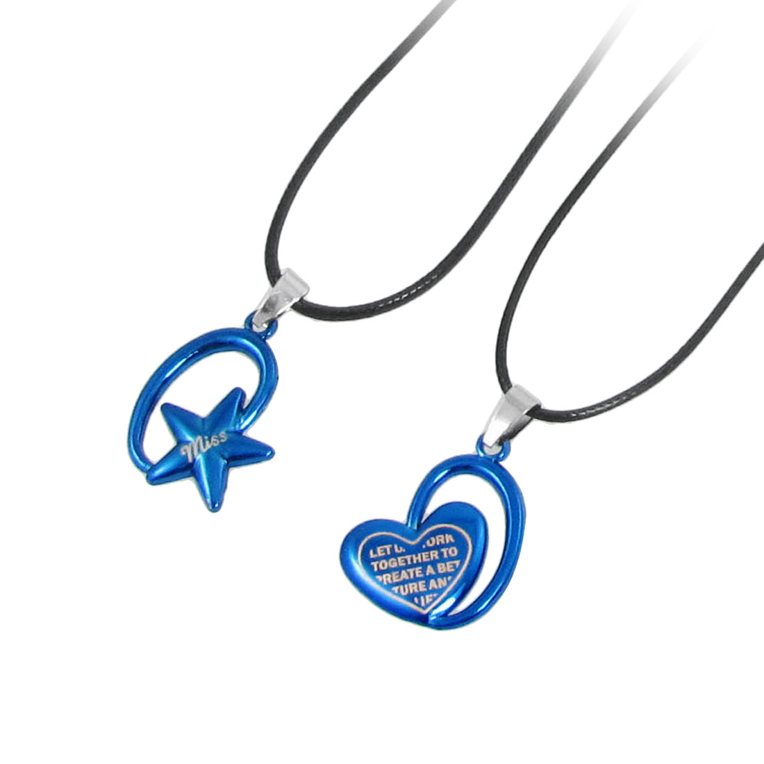 2 Pcs Black Neck Strap Blue Heart Pentagram Shaped Pendants Necklaces for Lovers