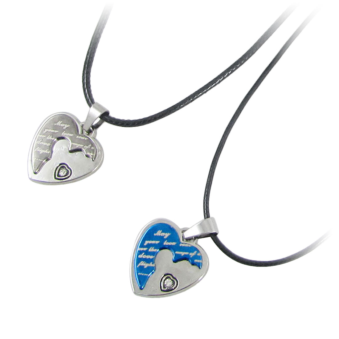 Lobster Clasp Different Printed Silver Tone Heart Shaped Pendants Double Necklaces for Lovers