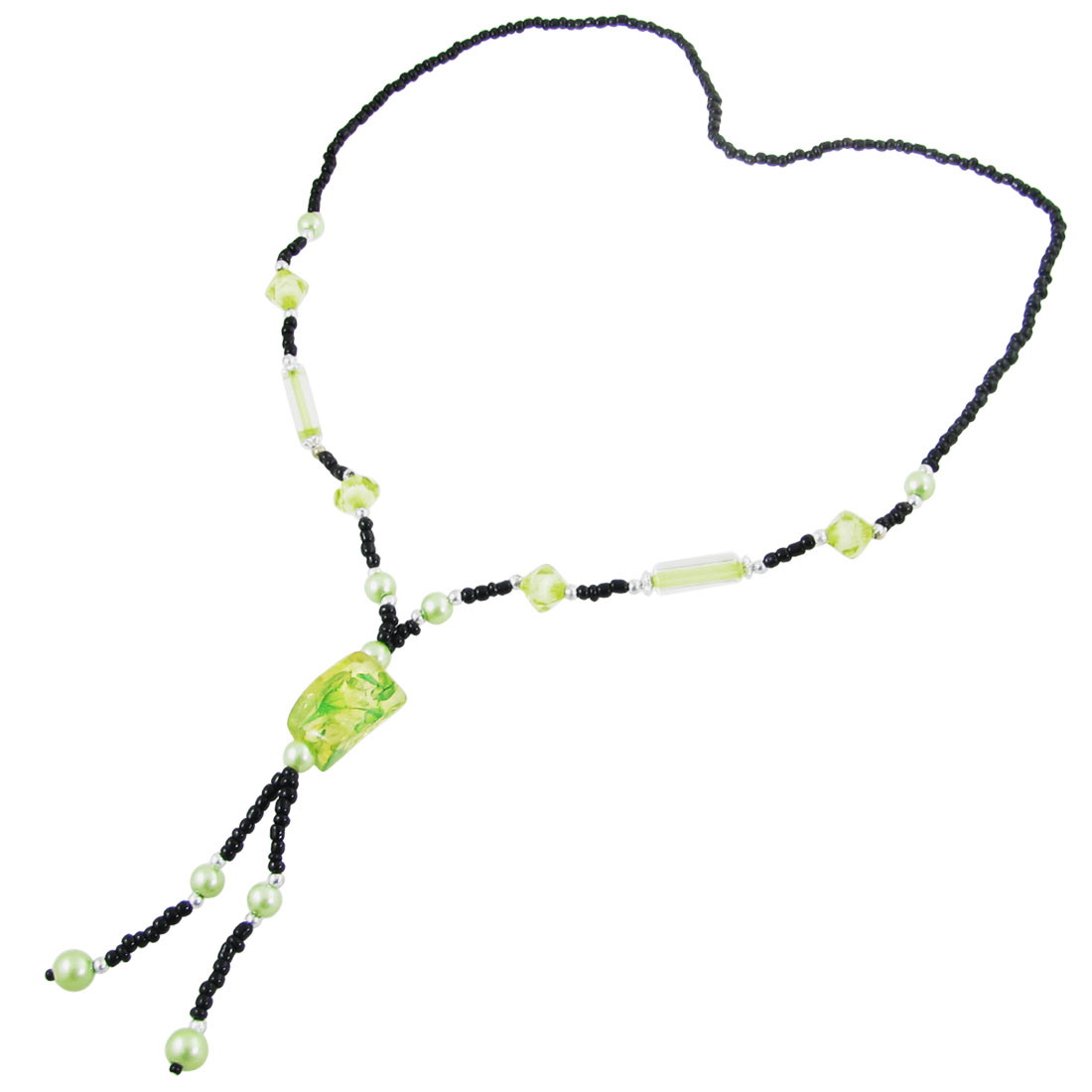 Lady Faux Bead Decor Green Plastic Stone Shaped Pendant Sweater Necklace