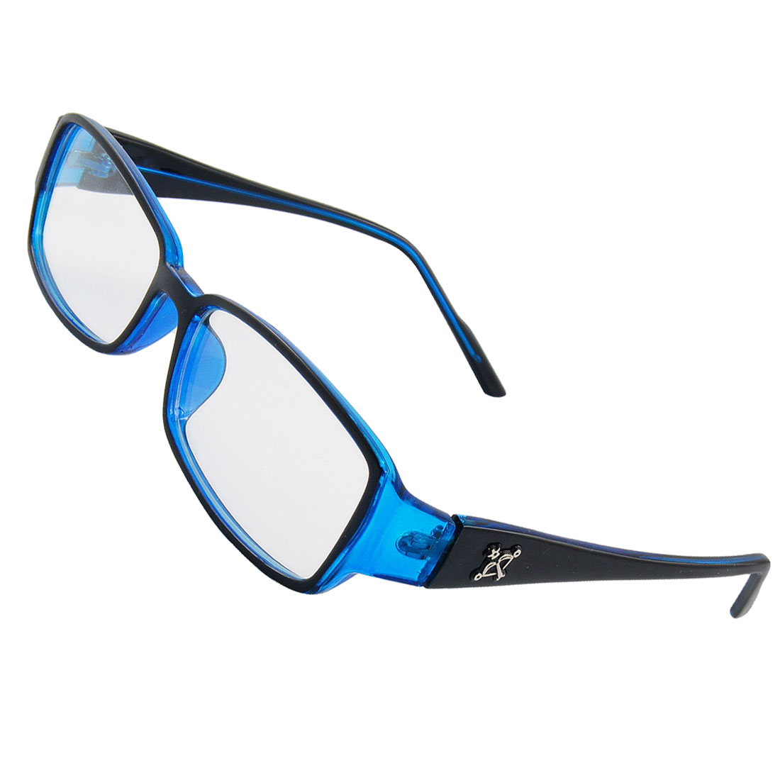 Black Blue Plastic Trophy Inlaid Arms Plano Glasses for Woman