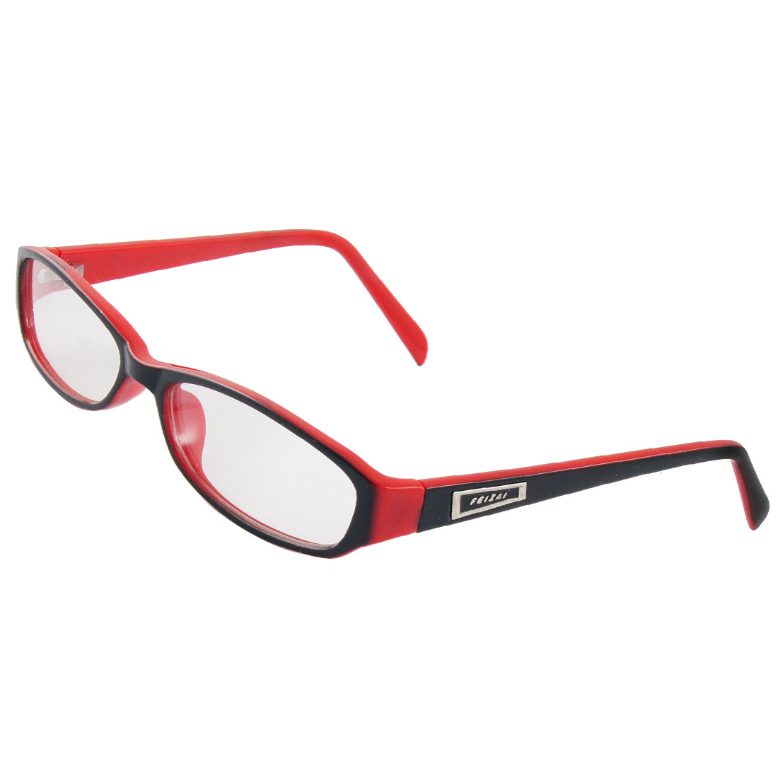 Woman Clear Lens Red Black Plastic Frame Plain Glasses