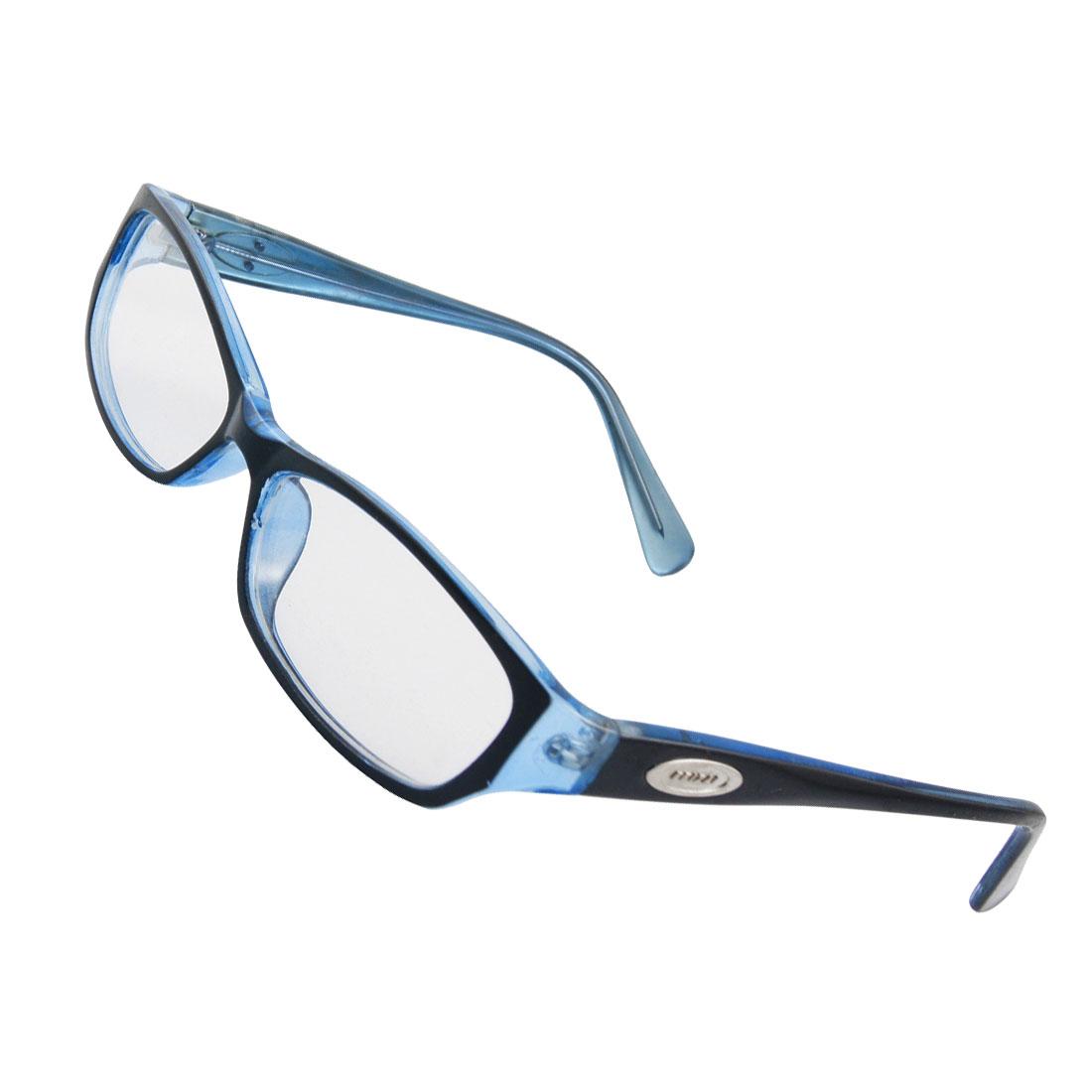 Women Black Blue Plastic Arms Plano Eyewear Glasses