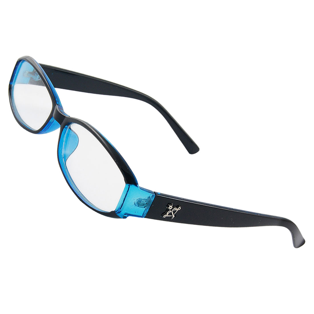 Lady Clear Lens Trophy Inlaid Arms Black Blue Plastic Plain Glasses