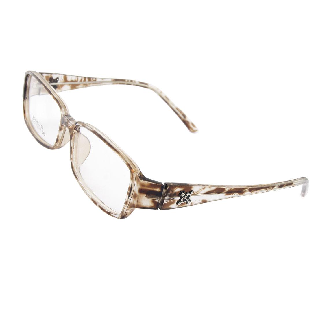 Woman Man Clear Lens Brown Plastic Leopard Pattern Plain Glasses