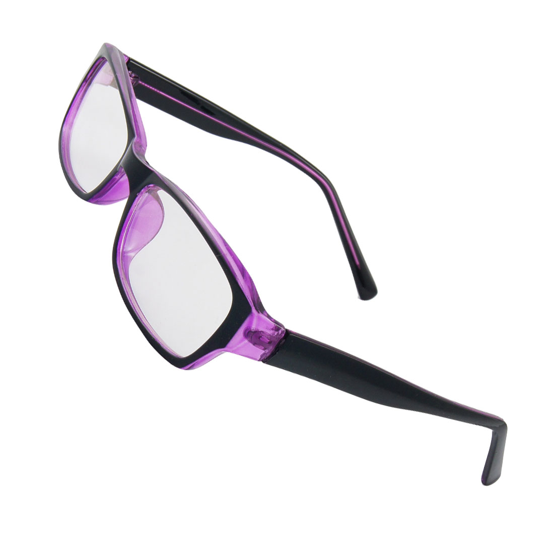 Ladies MC Lens Black Purple Plastic Frame Plain Glasses