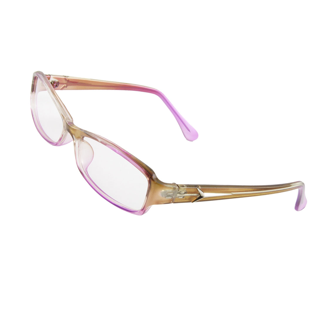 Women MC Lens Pink Brown Plastic Frame Plano Glasses