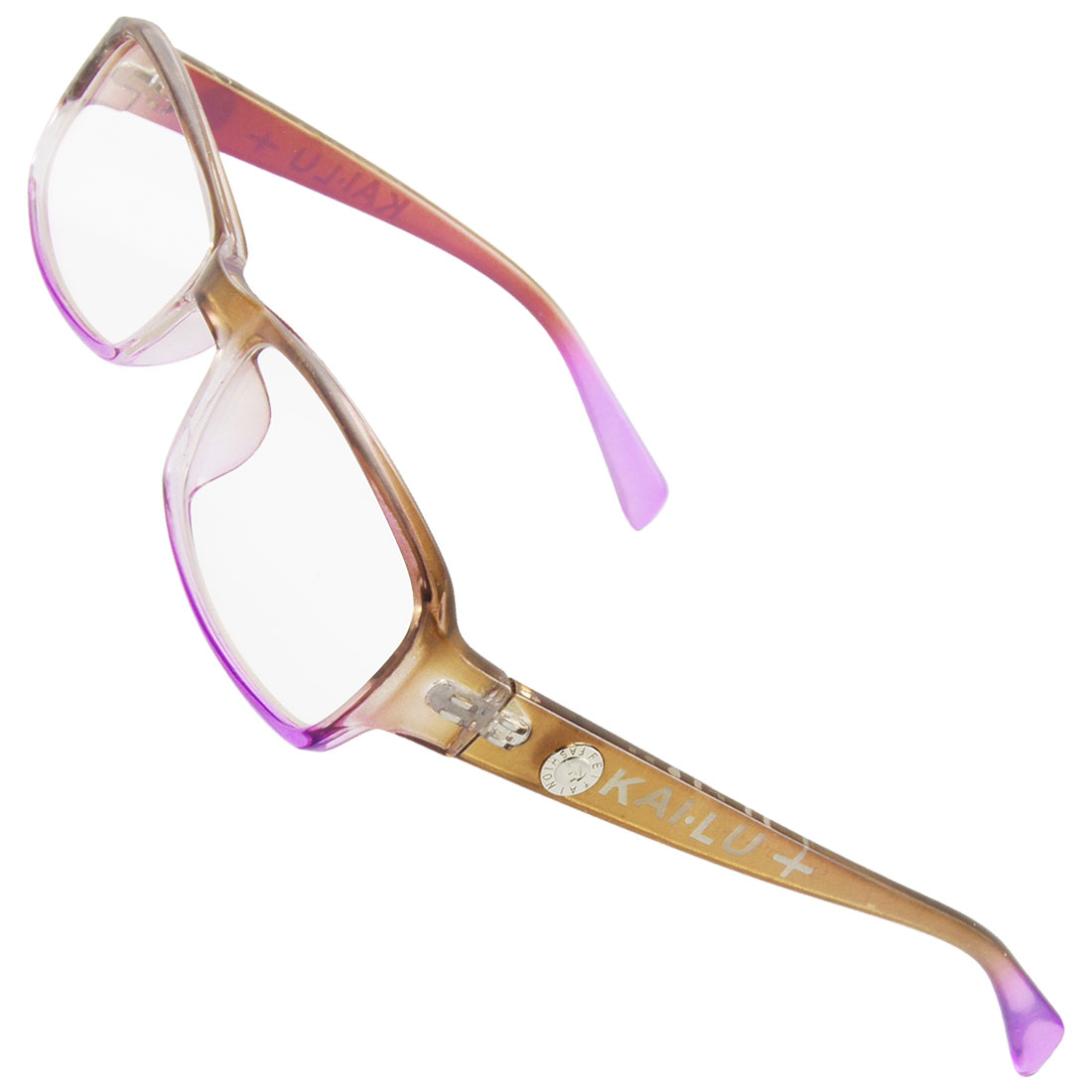 Lady Multi Coated Lens Pink Brown Plastic Plain Glasses