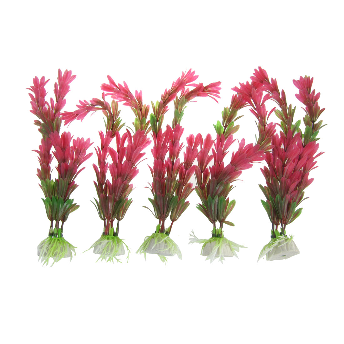 5 Pcs Red Green Plastic Emulational Grass Plant for Fish Tank