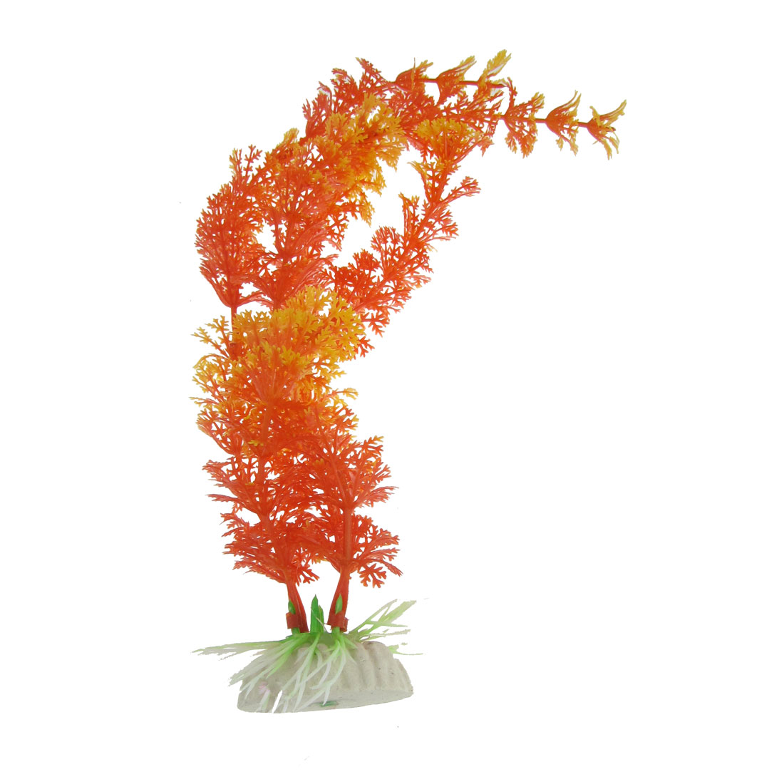 "12"" High Fish Tank Aquatic Plastic Plant Decor Orange Red Yellow Grass"