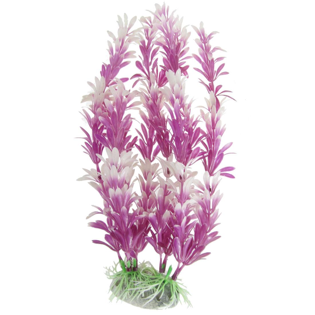 "Fish Tank Decor Ceramic Base 11.8"" Height Grass Plant Purple White"