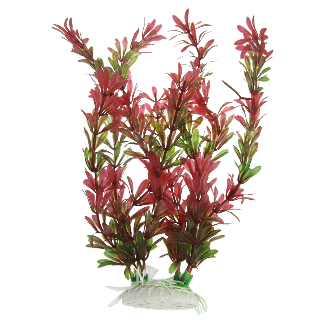 "Fish Tank Decor Ceramic Base 10.6"" Height Grass Plant Red Green"