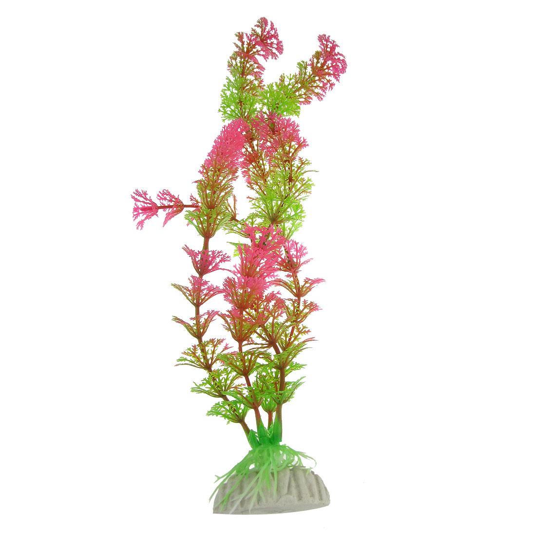 """11"""" Green Pink Artificial Plastic Aquatic Plant Grass for Decor Fish Tank"""