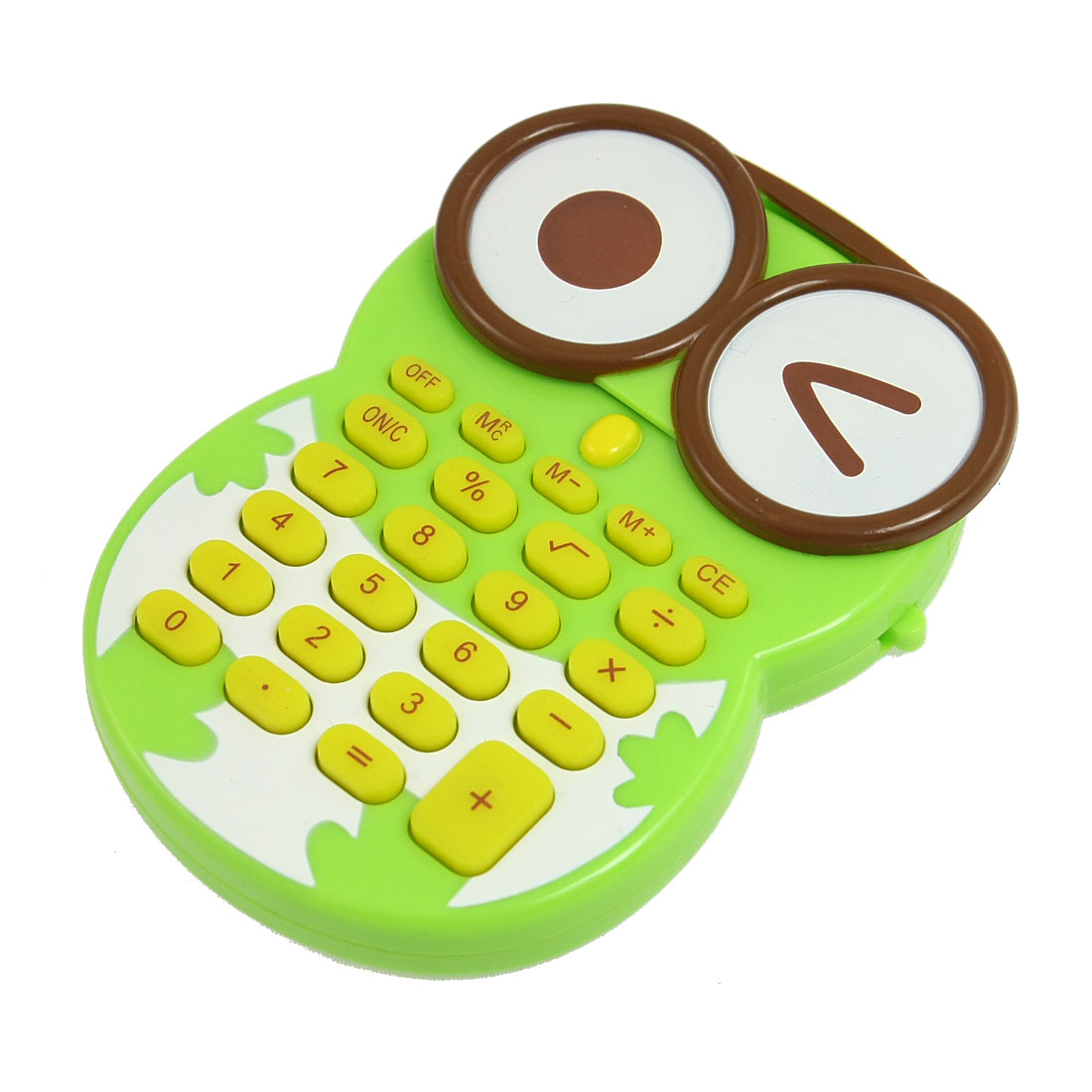 Green Plastic Owl Shaped Case 8 Digits LCD Display Electronic Calculator