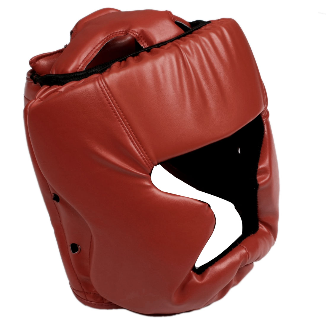 Adult Red Faux Leather Foam Head Protector Taekwondo Helmet Boxing Headgear
