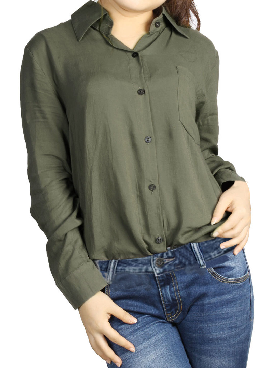 Lady Olive Green Point Collar Button Down Roll Up Sleeve Shirt S