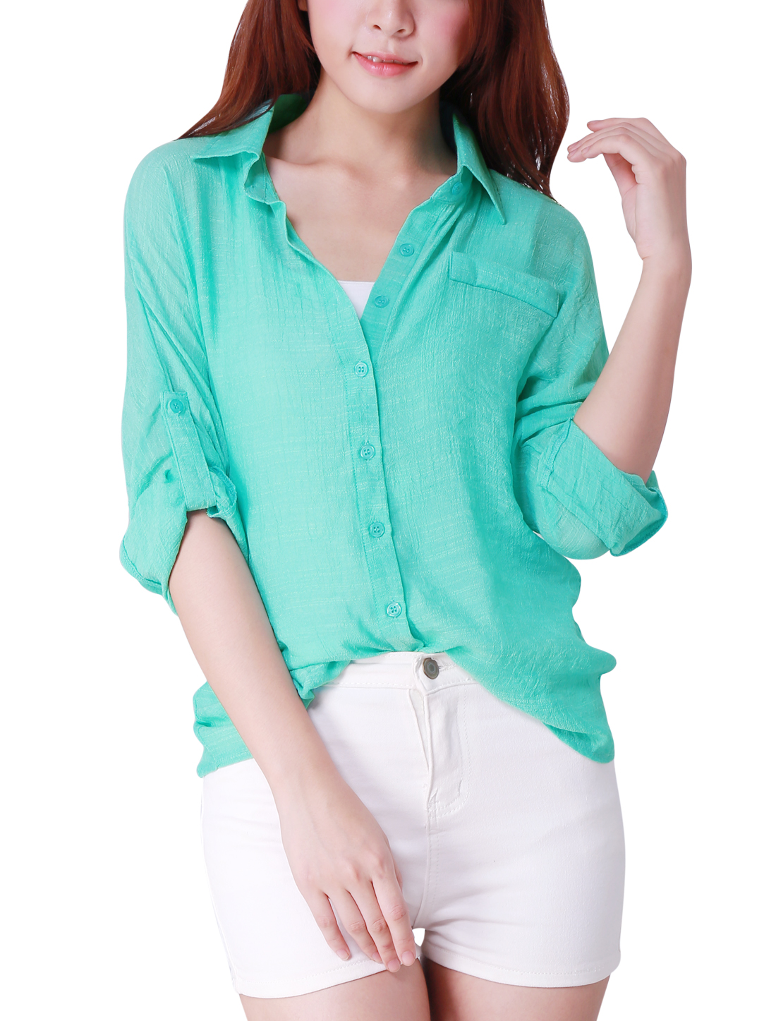 Lady Mint Color Single Breasted Rolled Up Sleeve Semi Sheer Point Collar Shirt XS