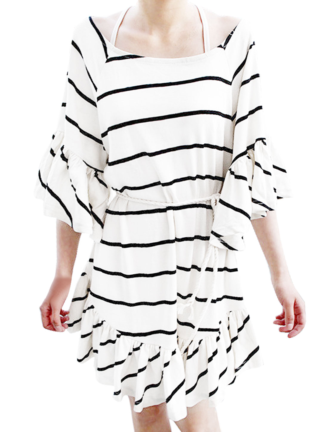 Women Scoop Neck 3/4 Sleeve Black Striped White Mini Dress XS