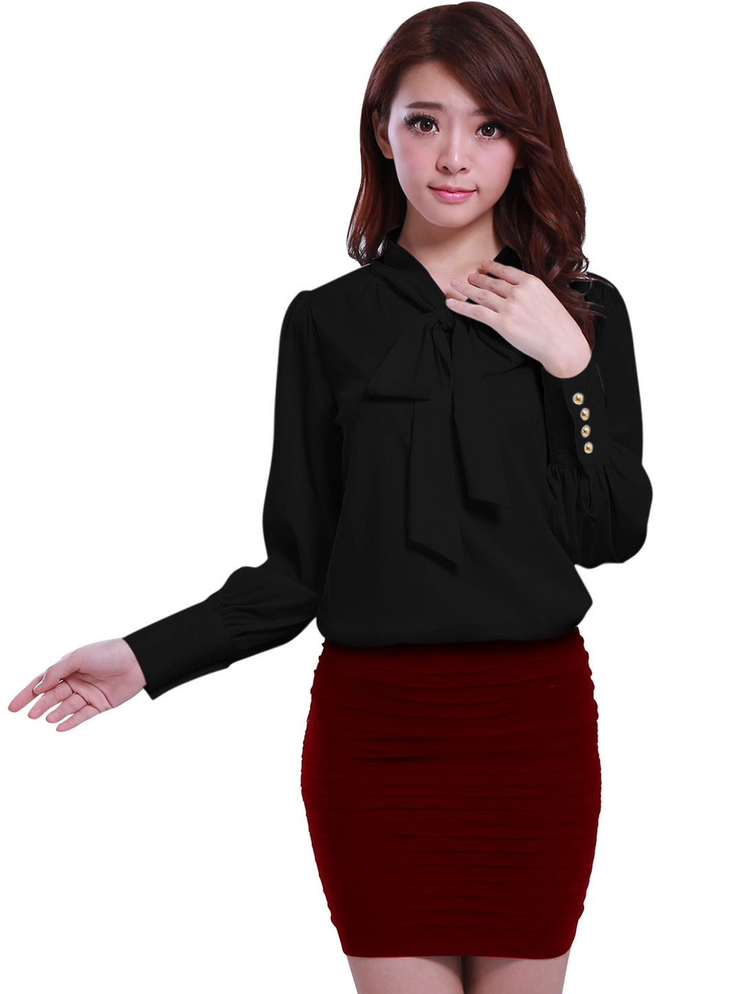 Woman Tie-bow Neck Puff Sleeve Buttoned Cuff Black Chiffon Blouse S
