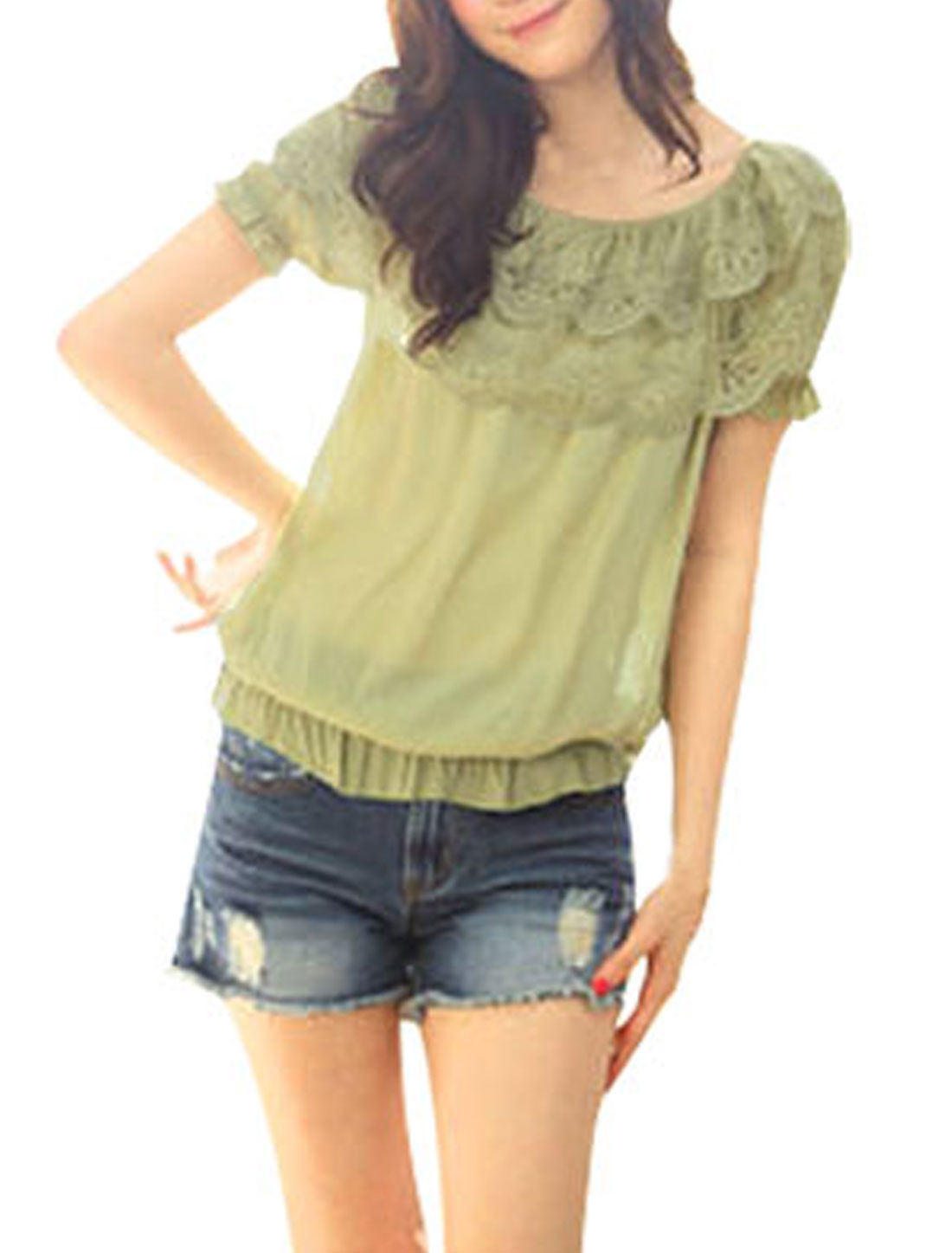 Women Olive Green Elastic Off Shoulder Lace Boat Neck Blouse XS