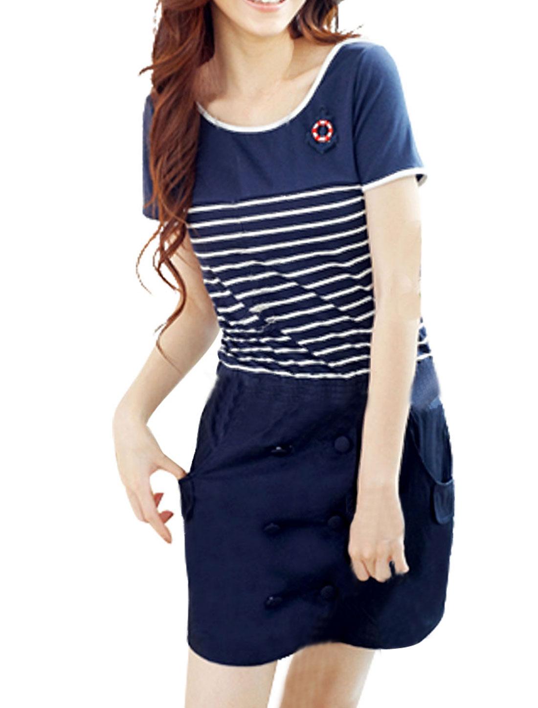 Women Scoop Neck Short Sleeves Striped Mini Dress Blue XS