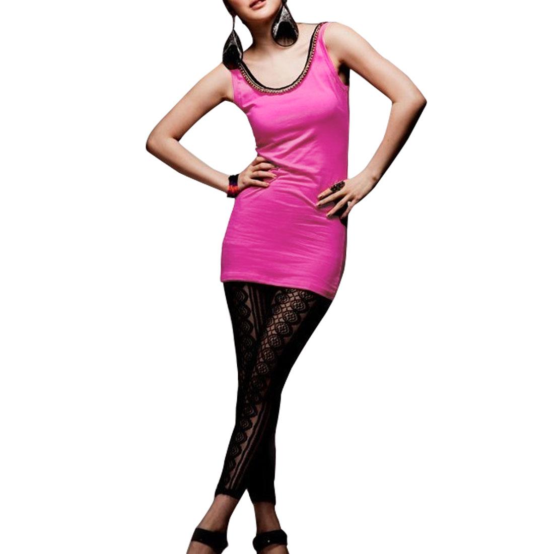 Woman Sleeveless Metal Chain Decor Stretchy Dark Pink Tunic Tank Shirt S
