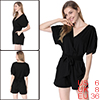 Woman Short Sleeve Crossover V Neck Stretchy Black Romper S