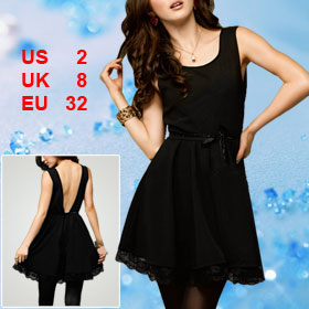 Woman Black Back Deep V Cut Sleeveless Elastic Waist Dress XS
