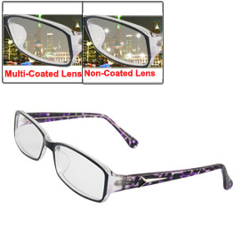 MC Lens Clear Purple Plastic Full Frame Plano Glasses for Lady