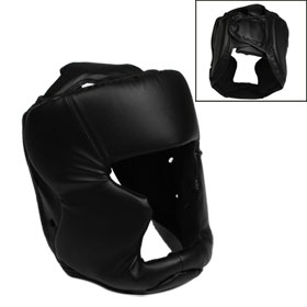 Black Faux Leather Foam Adjustable Headgear Full Face Mask Boxing Head Gear for Adult