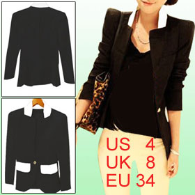Women Black Pocket Front Padded Shoulder Peaked Lapel Two Tone Blazer Jacket S