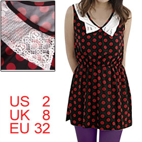 Woman Sleeveless Scoop Neck Red Dots Decor Black Tunic Tank Shirt XS
