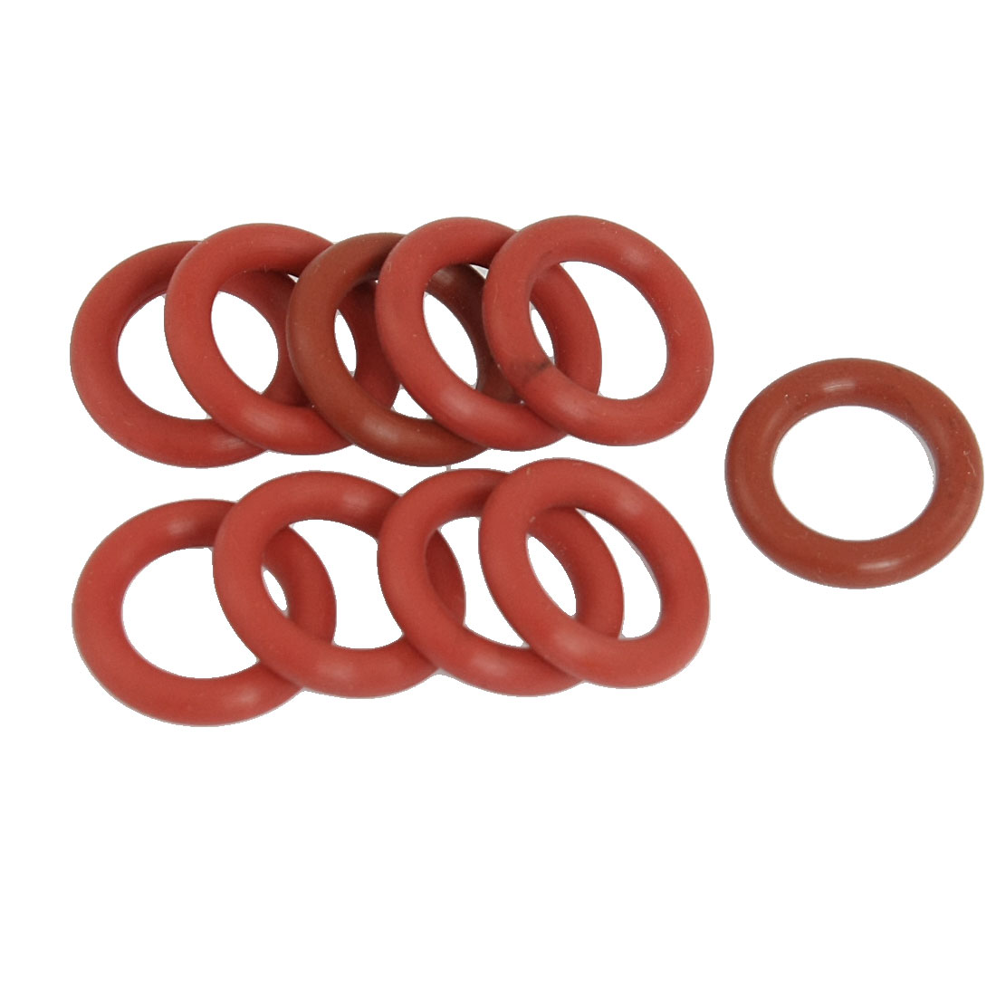 10 x Brick Red Tube Damper Silicone O Rings Seal Gaskets 12mm x 19mm x 3.5mm