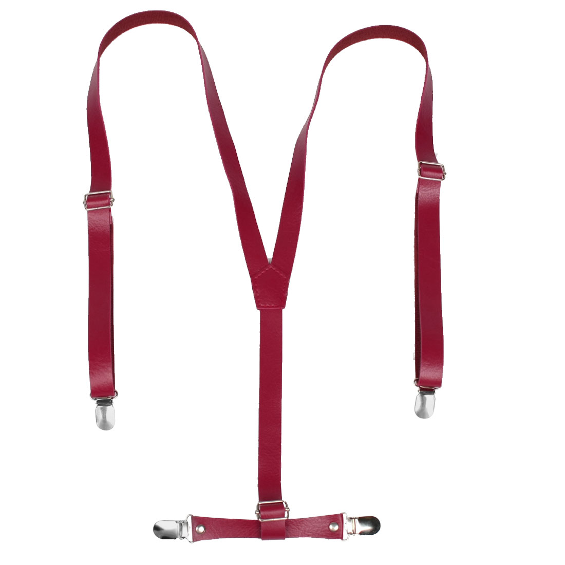 Woman Man Red Faux Leather Y Back Adjustable Suspenders