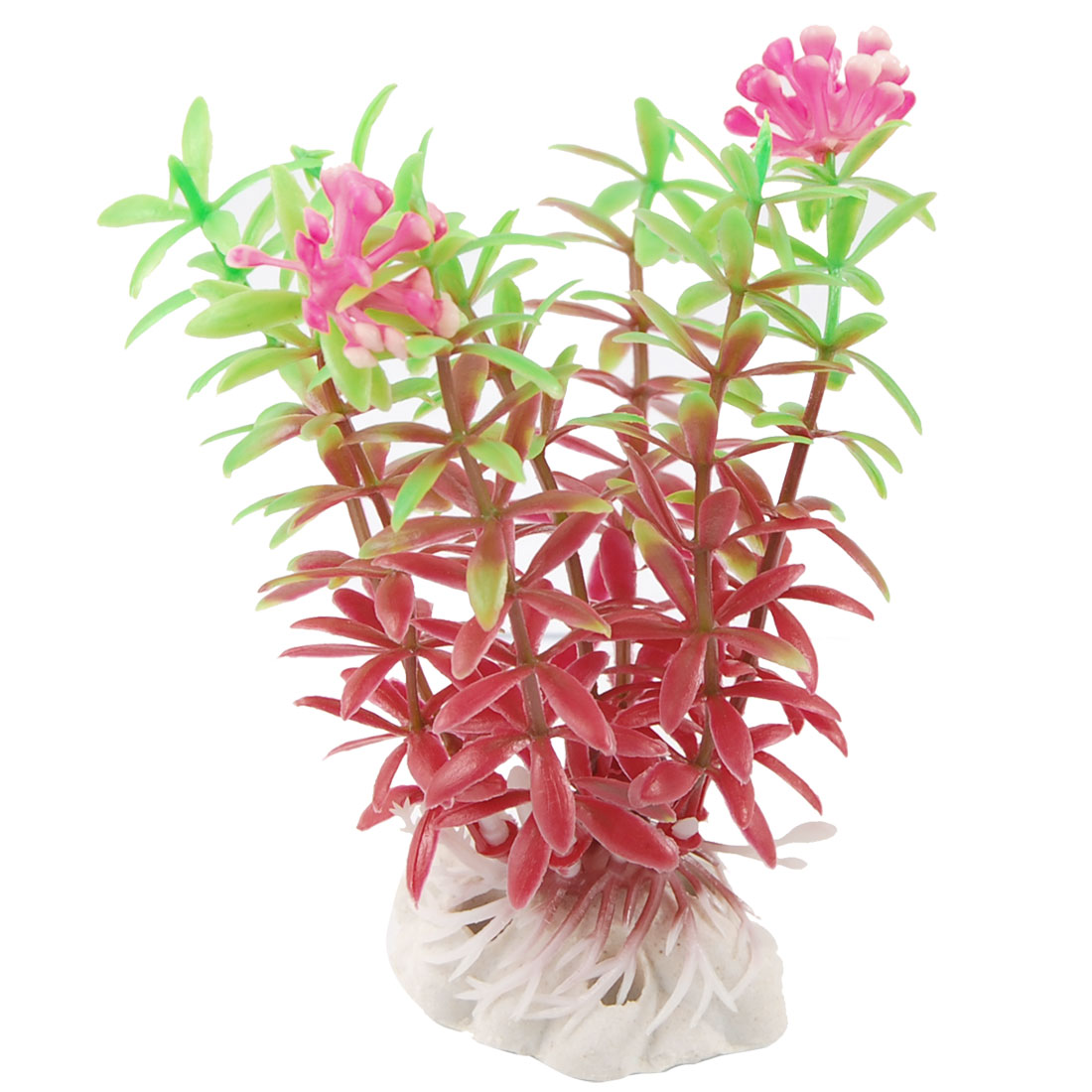 "3.9"" Height Red Green Manmade Grass Plant for Fish Tank Aquarium"