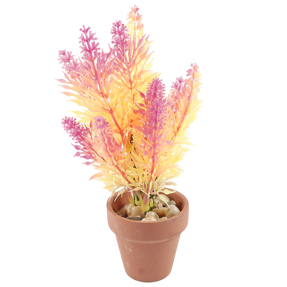 "6.5"" Height Yellow Magenta Plastic Grass Plant for Fish Tank"