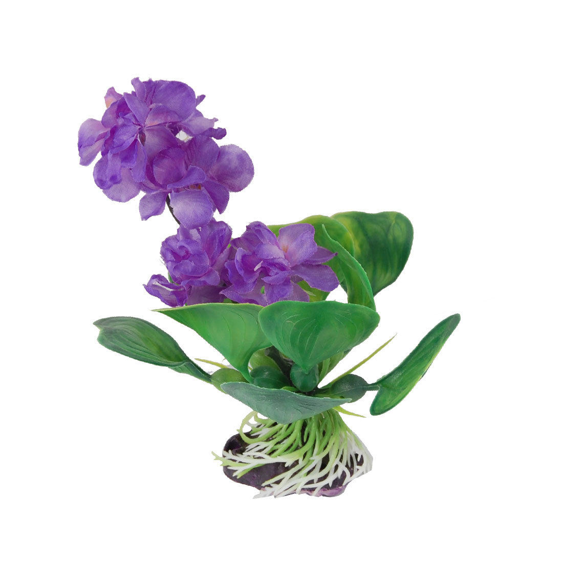 "5.1"" Height Purple Flower Green Grass for Fish Tank Aquarium"
