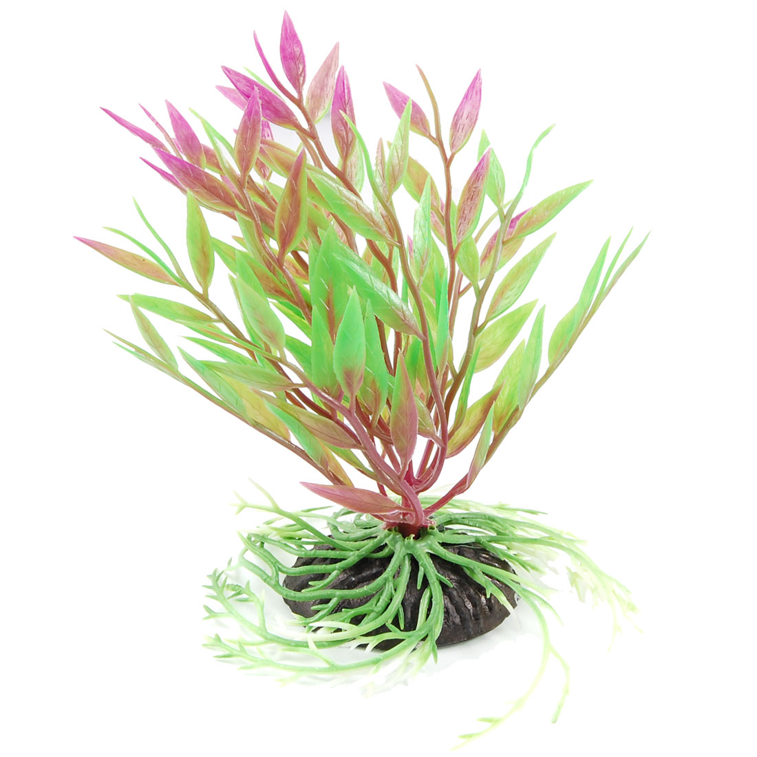 "5.5"" Height Green Fuchsia Artificial Grass Plant for Fish Tank"
