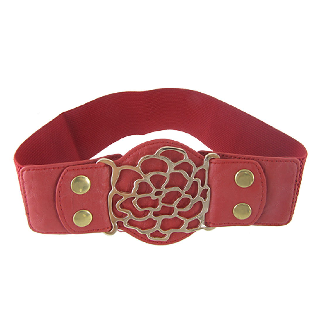 Red Faux Leather Press Stud Stretch High Waist Cinch Belt for Woman