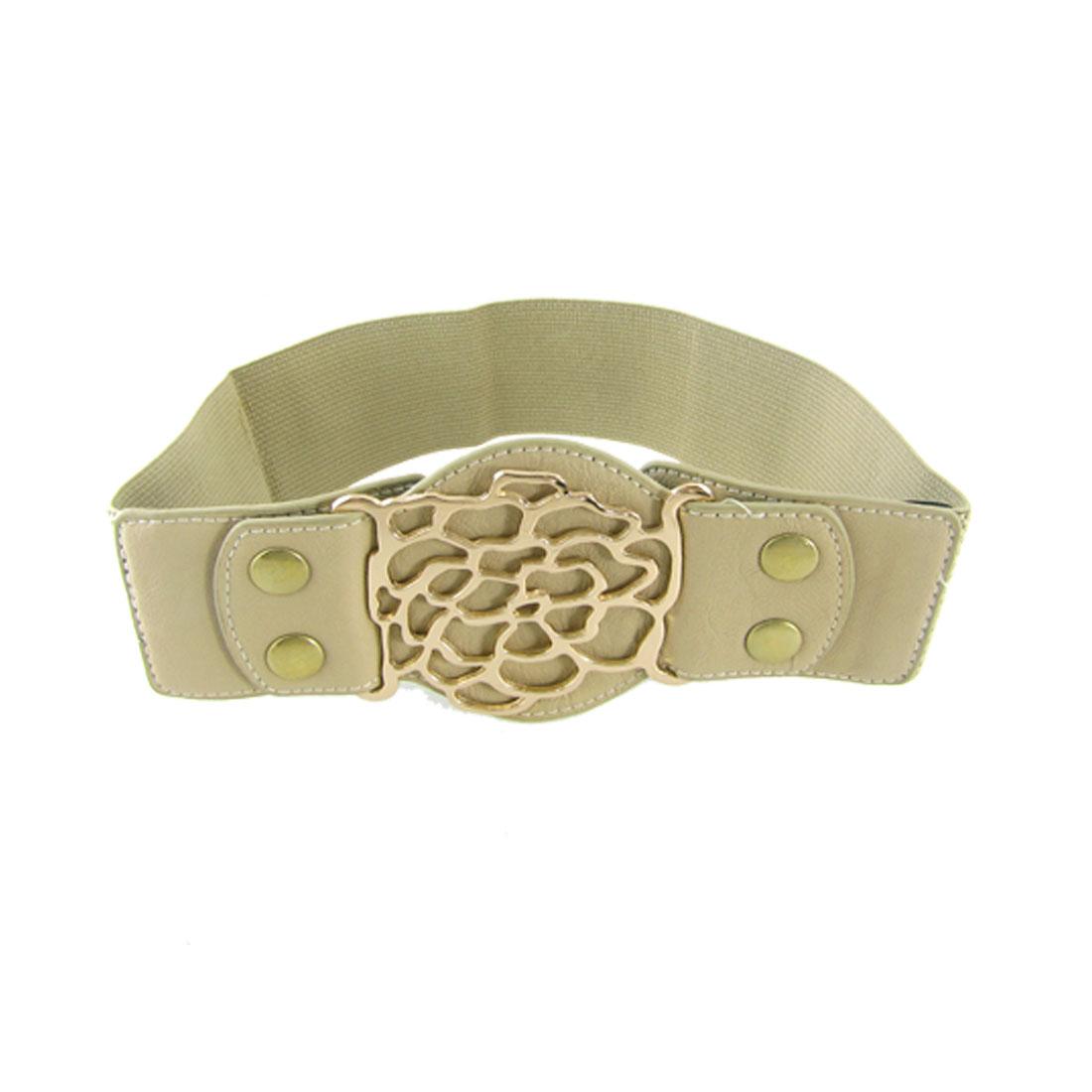 Press Stud Closure Metal Hollowed Buckle Stretchable Khaki Waist Belt for Lady