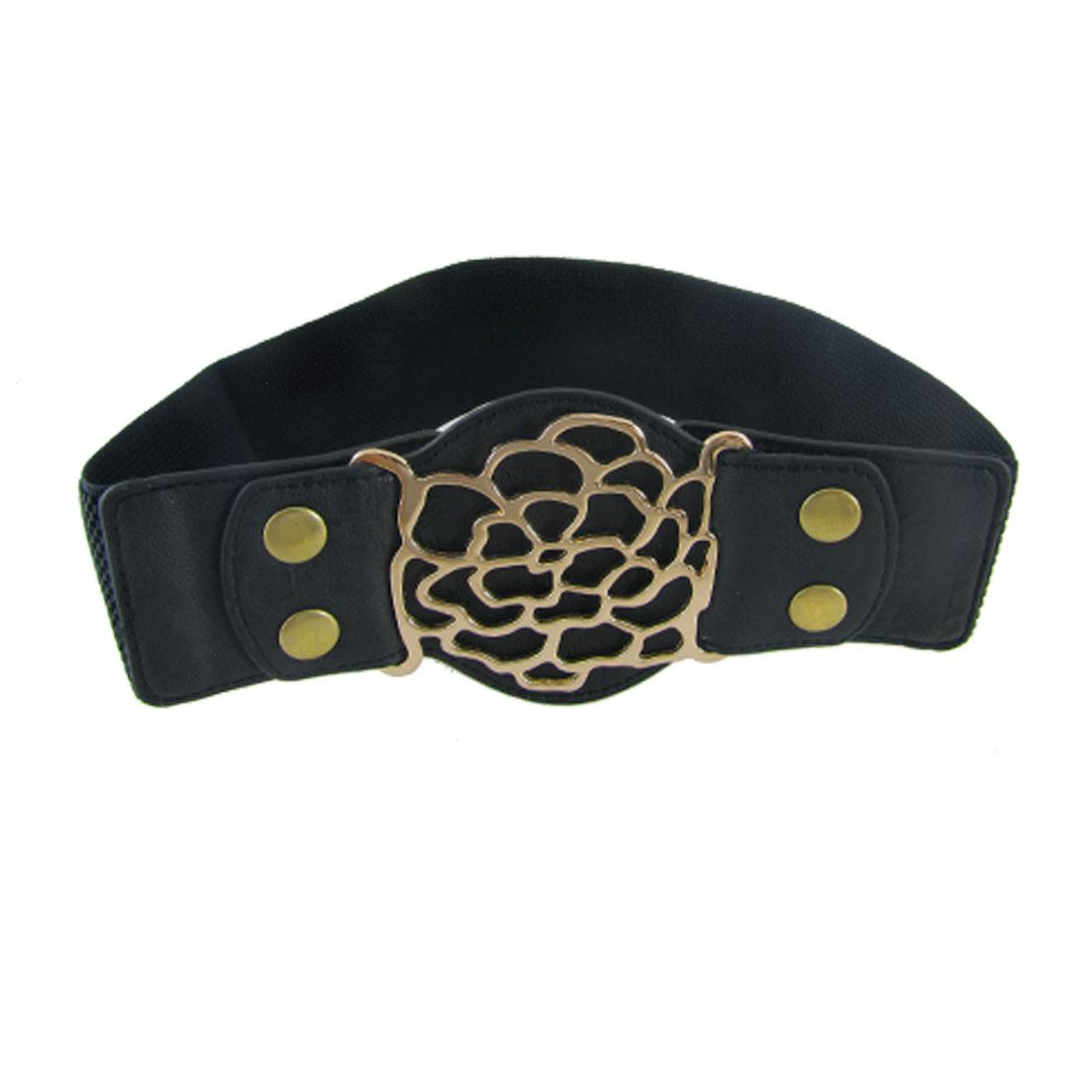 Woman Hollowed Metal Buckle Press Stud Fasteners Black Textured Stretch Cinch Belt