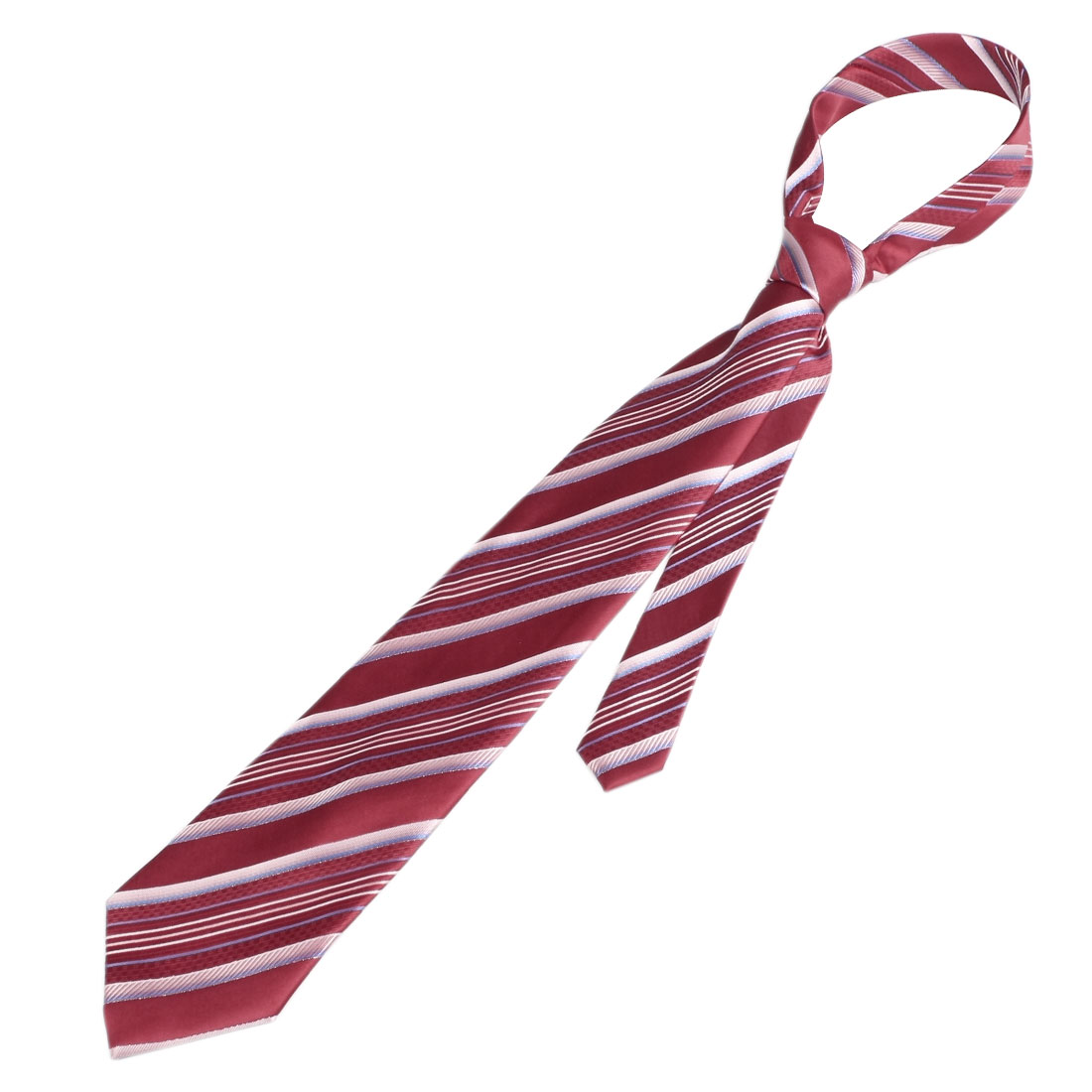 Red Textured Diagonal Stripe Print Self Tie Necktie for Men